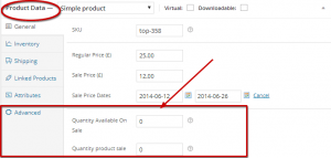 Set limit for product quantity available for the sale